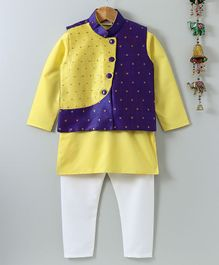 Bownbee Full Sleeves Solid Kurta & Square Design Jacket With Pajama Set - Yellow & Blue