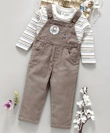 ToffyHouse Dungaree With Stripes Full Sleeves Tee Star Patch - Brown