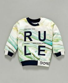 Doreme Full Sleeves Winter Wear Tee Rule Print - Cream Green