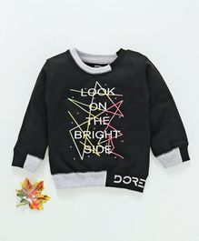 Doreme Full Sleeves Winter Wear Tee Text Print - Black