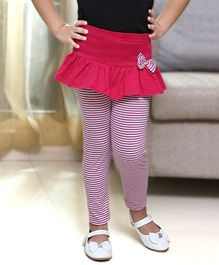 D'chica Bow Applique Horizontal Striped Full Length Skeggings - Fuchsia Pink