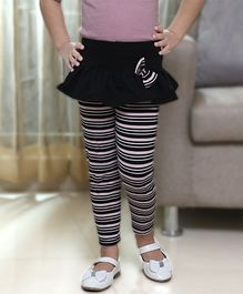 D'chica Bow Applique Striped Skeggings - Black