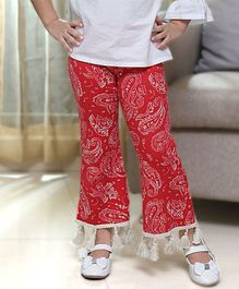 D'chica Full Length Flared Paisley Printed Bottoms - Red