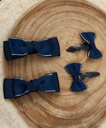 Babyhug Snap Clips With Bow Applique - Dark Blue