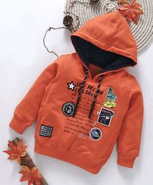 Gini & Jony Full Sleeves Hooded Sweatshirt Text Print - Orange