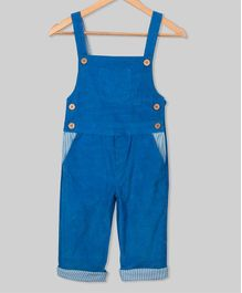 Olele Solid Full Length Dungaree With Front Pocket - Blue