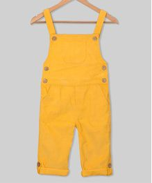 Olele Solid Full Length Dungaree With Front Pocket - Yellow
