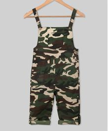 Olele Camouflage Print Full Length Dungaree - Green