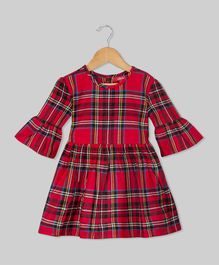 Olele Flared Sleeves Checked Dress - Red