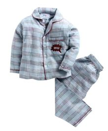 Knitting Doodles Full Sleeves Plaided Night Suit With Wow Patch - Light Blue