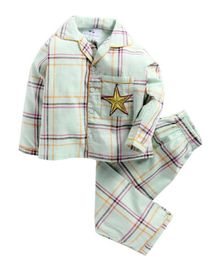 Knitting Doodles Full Sleeves Checkered Night Suit With Gold Star Patch - Mint Green