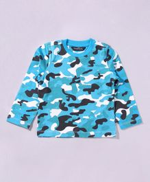 Parrotcrow Camouflage Printed Long Sleeve Tee - Light Blue