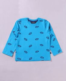 Parrotcrow All Over Printed Long Sleeve Tee - Light Blue