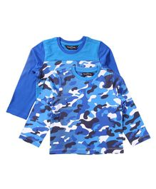 Parrotcrow Set Of 2 Camouflage Printed Tees - Blue