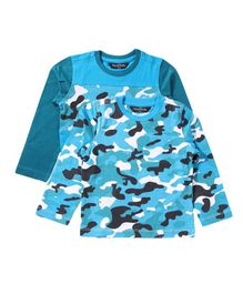 Parrotcrow Set Of 2 Camouflage Printed Tees - Light Blue