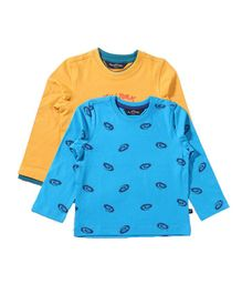 Parrotcrow Set Of 2 Skate Printed Tees - Yellow & Light Blue