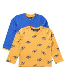 Parrotcrow Sets Of 2 Skate & All Over Printed Tees - Royal Blue & Yellow
