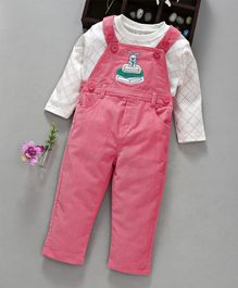 ToffyHouse Dungaree With Full Sleeves Checked Tee Bunny Embroidered - Pink