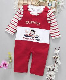 ToffyHouse Dungaree Style Romper With Stripe Tee Rowing Embroidery - Red White