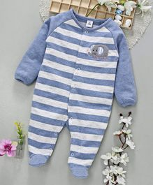 ToffyHouse Full Sleeves Footed Stripe Romper Elephant Patch - Blue White