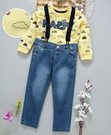 ToffyHouse Full Sleeves Tee & Jeans With Suspenders - Yellow & Blue