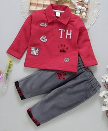 ToffyHouse Full Sleeves Tee & Lounge Pant Doggy Patch - Red Grey
