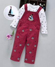 ToffyHouse Dungaree With Full Sleeves Checked Tee Ship Embroidered - Red