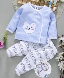 ToffyHouse Full Sleeves Vest And Bootie Leggings Kitty Patch - Blue White