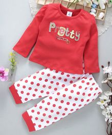 ToffyHouse Full Sleeves Tee And Polka Dot Lounge Pant Pretty Patch - Dark Pink