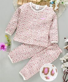 ToffyHouse Full Sleeves Printed Night Wear - Pink White