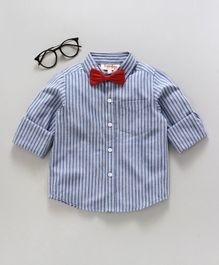 Hugsntugs Striped Full Sleeves Shirt With Bow - Blue & White