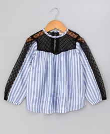 Hugsntugs Full Sleeves Striped Top With Mesh Detailing - Blue & White