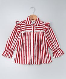 Hugsntugs Full Sleeves Frilled Shoulder Striped Top - Red & White