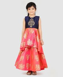 Enfance Floral Design Sleeveless Gown - Blue & Peach
