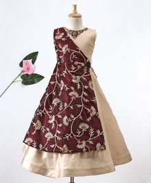 Enfance Flower Embroidered Sleeveless Gown - Maroon