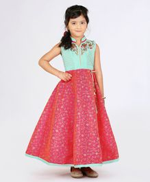 Enfance Flower Embroidered Sleeveless Gown - Green & Pink