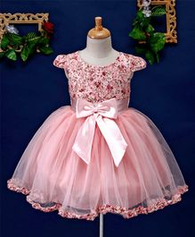 Mark & Mia Floral Theme Bow Applique Cap Sleeves Dress - Pink