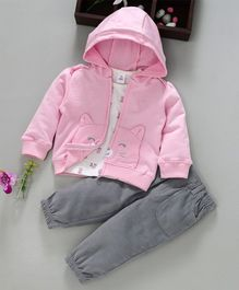 ToffyHouse Full Sleeves Hooded Jacket With Tee & Corduroy Pants - Pink & Grey