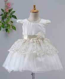 Kookie Kids Floral Embroidered Cap Sleeves Net Dress - White