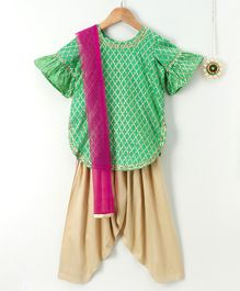 Amairaa Bell Sleeves Kurti & Salwar With Dupatta - Green & Pink