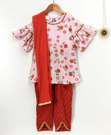 Amairaa Floral Print Top & Tulip Pants With Dupatta - Pink & Red