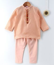 Amairaa Pintex Full Sleeves Kurta & Pajama Set - Peach