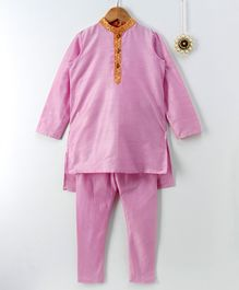 Amairaa Solid Full Sleeves Kurta & Pajama Set - Purple