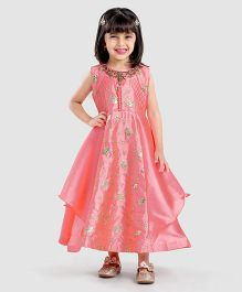 Enfance Floral Embroidered Sleeveless Dress - Peach