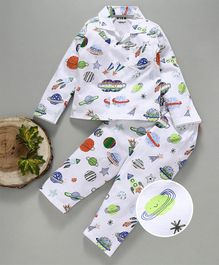 Fido Full Sleeves Night Suit Planet & Star Print - White