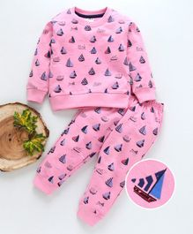 Fido Full Sleeves Night Suit Ship Print - Pink