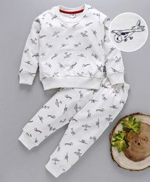 Fido Full Sleeves Night Suit Aeroplane Print - White