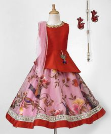 Pspeaches Peplum Choli With Floral Lehenga & Dupatta - Pink & Red