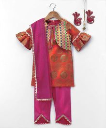 Pspeaches Ruffle Sleeve Kurti With Pajama - Orange & Pink