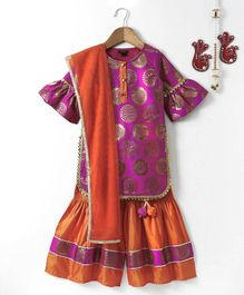 Pspeaches Ruffle Sleeves With Kurti And Sharara - Pink & Orange